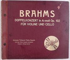 BRAHMS: Doppelkonzert ELECTROLA Germany 78 Set CASALS THIBAUD cortot BEAUTIFUL!