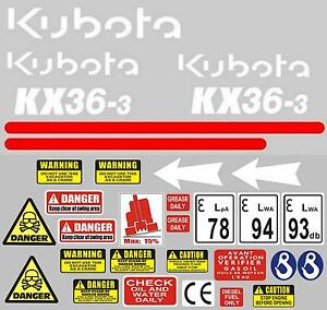 Decal Sticker set. KUBOTA KX36-3 Mini Digger Pelle Bagger Excavator