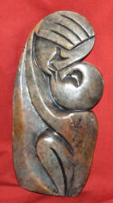 Vintage Hand Carved Stone Abstract Futuris Modernist Couple Statuette