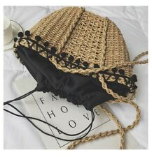 Handmade Women Straw Woven Beach Tote Bohemia Crossbody Bag Shopping Handbag