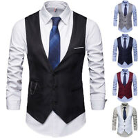 Men's Formal Business Vest Suit Slim Fit Sleeveless Waistcoat Tuxedo Work Coat