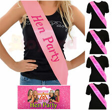 PINK HEN PARTY SASHES HEN NIGHT PARTY DO ACCESSORIES BRIDE TO BE BRIDESMAID ETC