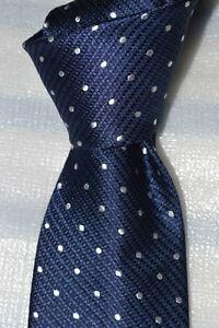 "$65 NWOT DONALD TRUMP Navy blue w/ white polka dots 3.4"" men's woven silk tie"