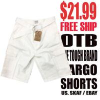 OTB One Tough Brand Men's NWT Classic Cream White Cargo Shorts $21.99 Free Ship
