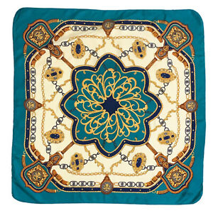 OLIVEIRA PAISLEY BRIDLE BLUE LARGE silk Scarf  33 in #A106