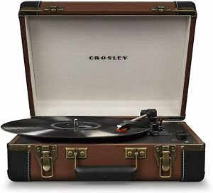 Crosley Executive Portable Suitcase Turntable Vinyl Record Player - Brown