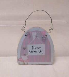 "Never Grow Up Fairy & Mushrooms Mini Wall Hanging Plaque 2.5"""