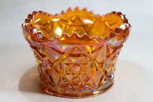 MOSSER Tangerine Carnival Glass Pinwheel Star Pattern Zippered Edge Bowl