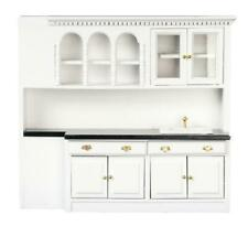 Dolls House Black & White Sink Cupboards Miniature Fitted Kitchen Furniture