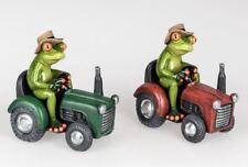 717788 Frosch auf Traktor hellgrün 16cm aus Kunststein witzige Details Stück