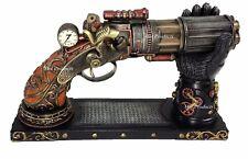 6 Barrel Steampunk Display Pistol Prop Gun Gauntlet Glove Stand Statue Figurine