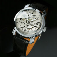 Mens Watch Automatic Hand-winding Silver Stainless Steel Case Analog Date Casual