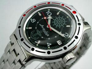 Russian VOSTOK SELF-WINDING MILITARY Zissou Navy Black watch #420526 NEW