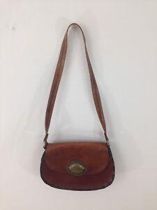Vtg Handmade Boho Brown Distressed Hard Leather Single Pocket Purse Handbag