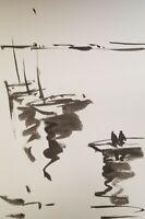 "JOSE TRUJILLO MODERN IMPRESSIONISM ABSTRACT INK WASH BOATS PIER SKY BLACK 9X6"""
