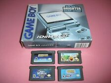 Pearl Blue Gameboy Advance GBA SP AGS-101 system complete in box w/ 4 games!