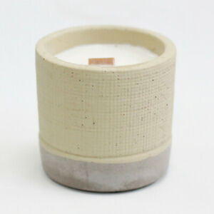 Wooden Wick Concrete Pot - Grey - Coffee in the Club Candle AWCWC-10