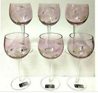 Romanian Crystal 6 Piece Rose Burgundy Gold Grape Leaf Stemmed Wine Glass Set