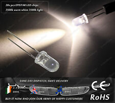 20x Warm White 3500k Epistar 5mm Clear LED Chip Diode Lighting Lamp DIY 3V AC DC