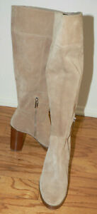"Women's Michael Kors Tan Suede Boots Size 8M 4"" Staked Heel Platform"