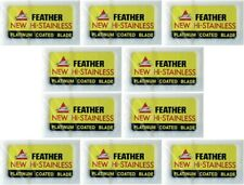 100X Feather Double Edge Razor Blades Platinum Coated Hi-Stainless Steel Jpn Ma