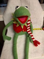 "Vintage Muppets Kermit The Frog W Vest & Scarf 24"" Plush Eden Toys"