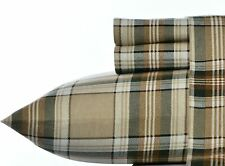 Brown Beige Plaid  00006000 Lodge 4 pc Cotton Flannel Sheet Set Twin Full Queen King Bed