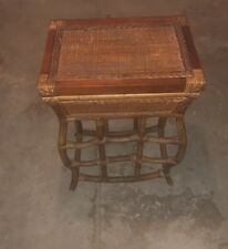 VINTAGE EARLY 1900 WICKER HANDCRAFTED TABLE BASKET WOOD SET