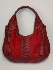 ISABELLA FIORE HENDRIX STUDDED RED LEATHER HAIR ON SHOULDER HANDBAG HOBO MP$895