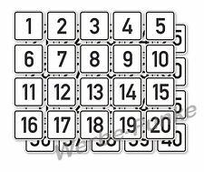 1 Aufkleber - Set Zahlen 1 bis 40 ,  50 x 50 mm ,