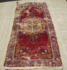 Antique Asian Traditional Medallion Handwoven Kilim 3x6 ft Wool Red Hallway Rug