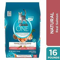 Purina ONE Tender Selects Blend Adult Dry Cat Food ,16 lb Bag FREE SHIPPING
