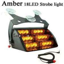 18 LED Amber Yellow 3k Light Car SUV Dash Windshield Strobe Flashing Light  12V