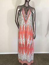 NWT Hale Bob multi maxi geometric tribal print long white coral dress size S