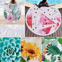 Tropical Large Round Beach Towel Microfiber Blanket Yoga Mat Floral Pineapple