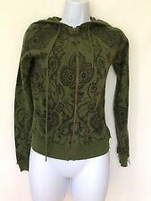 L.A.M.B. green cashmere black hoody sweater Small Knit Zipper Top Jacket s