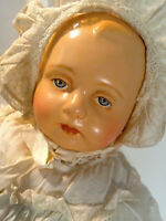 "Vintage 1920's Unmarked 22"" Compo & Stuffed Cloth Repainted Dressed Baby Doll"