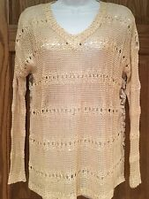 FUNSPORT SWEATER GOLD LONG SLEEVE WITH CUTE LACE AND FLOWER BACK SIZE S NWT