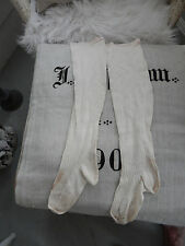 Antique French Victorian Nineteenth Century Trousseau Stocking White With Red