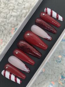 Custom made press on nails Long Coffin Red Glitter Christmas Xmas