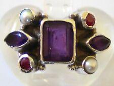 Ruby, Pearl Ring - Uk Size N Nr Fine Vintage/Antique 925 Solid Silver Amethyst,