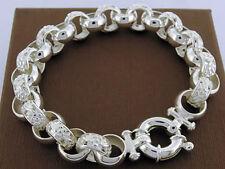 SOLID 925 STERLING Silver Blossom Belcher Bracelet Bolt-Ring Euro Clasp 20.5cm