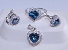 GENUINE 4.58cts London Blue Topaz S/Silver 925 Heart Set Ring/Earrings/Pendant