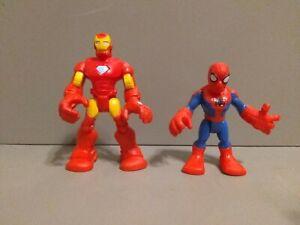 Playskool Heroes Marvel Super Hero ironman and spiderman figure lot