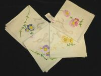 Anthropologie Set Of 4 Joetta Maue Hand Embroidered Etiquette / Cocktail Napkins