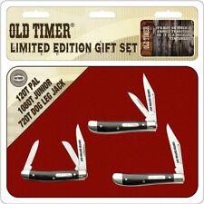 Schrade Otp17-26Cpbr Brown Wood Old Timer Set (3 Knives) Folding Pocket Knife