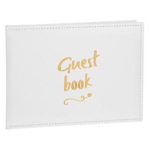 Wedding / Anniversary / Birthday - Guest Book - White & Gold Script Wording