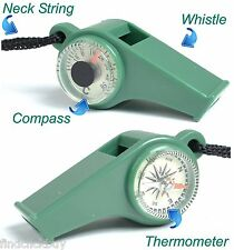 3 in 1 Trekking Emergency Whistle Compass & Thermometer Lanyard, Walking Hiking