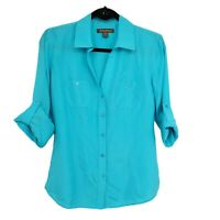 Tommy Bahama Women's Button Front Shirt Blouse Silk Aqua Roll Tab Long Sleeve XS