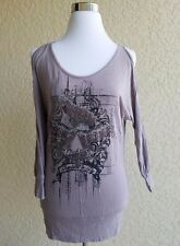 GUESS Size S Women TUNIC DRESS GRAY BLACK rhinestones long steeve cold shoulders